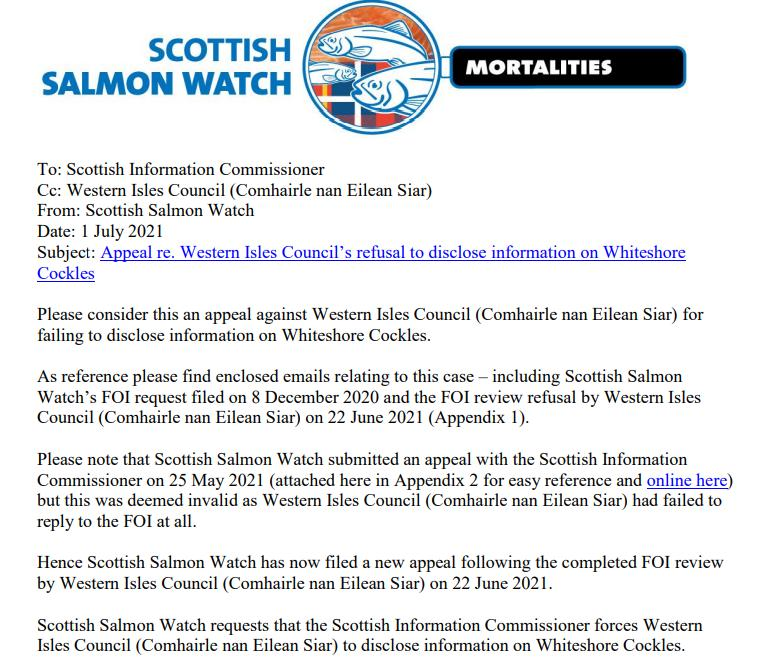 Appeal to SIC re Western Isles Council FOI refusal on Whiteshore Cockles 1 July 2021 #1