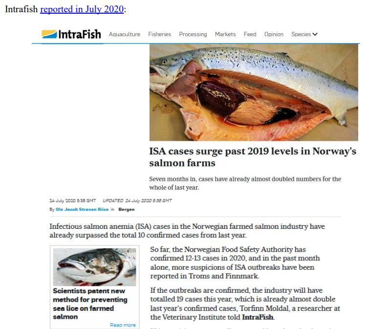 Media Backgrounder Norway Infectious Salmon Aquacalypse Going Global Since 1984 August 2021 #5