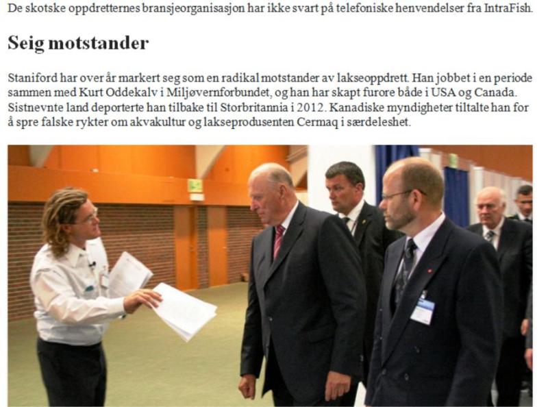 Intrafish 31 Aug ISA story in Norwegian # king