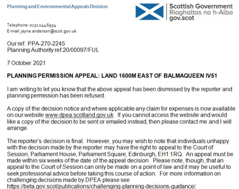 Balmaqueen refusal 7 October 2021 #1